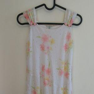 Girl's Cherokee White Dress Pastel Floral Print